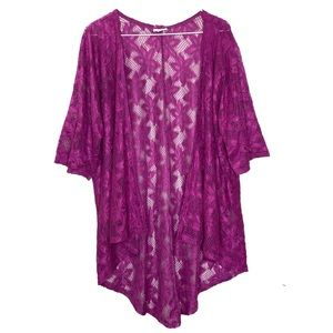 LuLaRoe Fuchsia Cover Up High Low Size Small